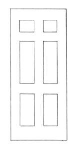 six panel wood or steel door