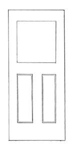 Lite over 2 panels wood or steel door